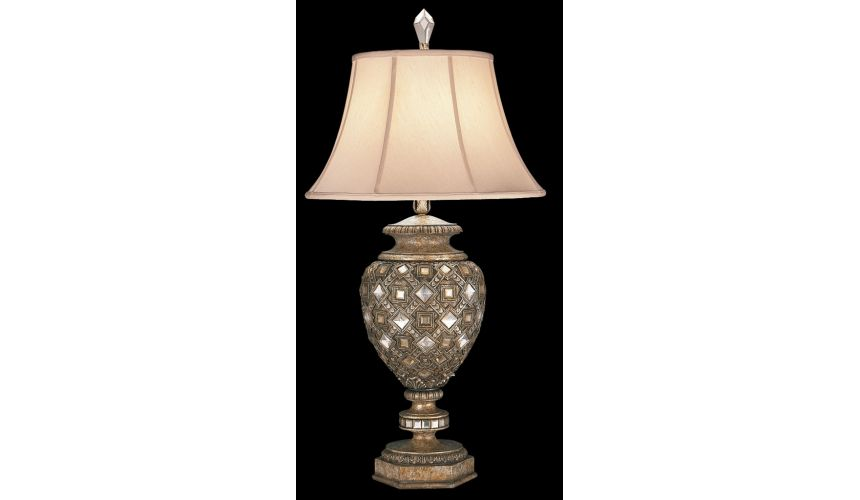 Lighting Table lamp in a cool moonlit patina with cut crystal diamonds