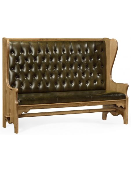 SETTEES, CHAISE, BENCHES Distressed oak leather bench