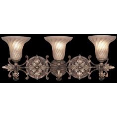 Moisture resistant wall sconce in tortoised leather crackle finish with stained silver leaf accents