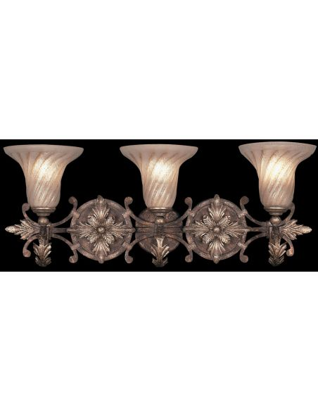 Lighting Moisture resistant wall sconce in tortoised leather crackle finish with stained silver leaf accents