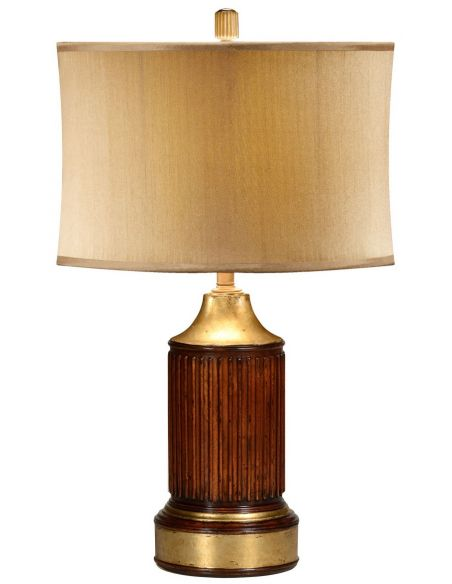 Table Lamps Round fluted mahogany table lamp