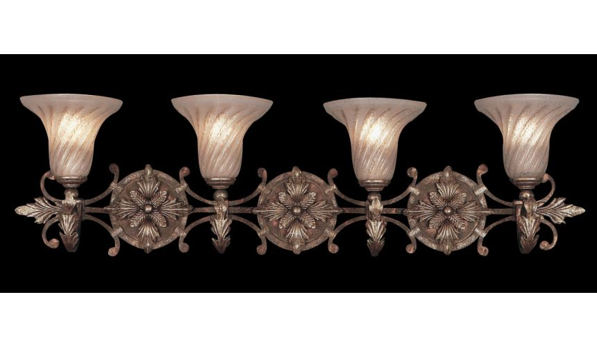 Lighting Moisture resistant wall sconce in tortoised leather crackle finish