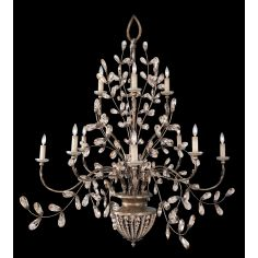 Chandelier in a cool moonlit patina with moon dusted tendrils and pendant drops