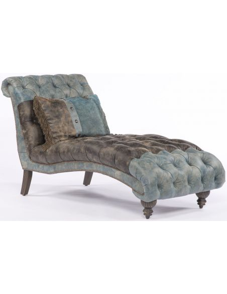 Luxury Leather & Upholstered Furniture Tufted Settee/Chaise