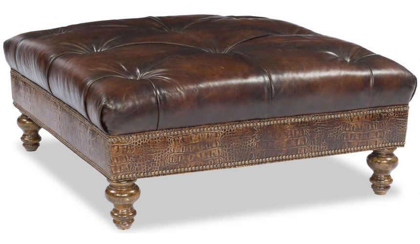OTTOMANS Square Leather Ottoman,