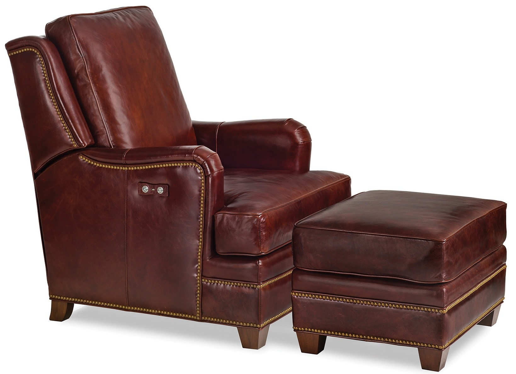 Luxury Leather Furniture Tilt Back Chair And Ottoman Set