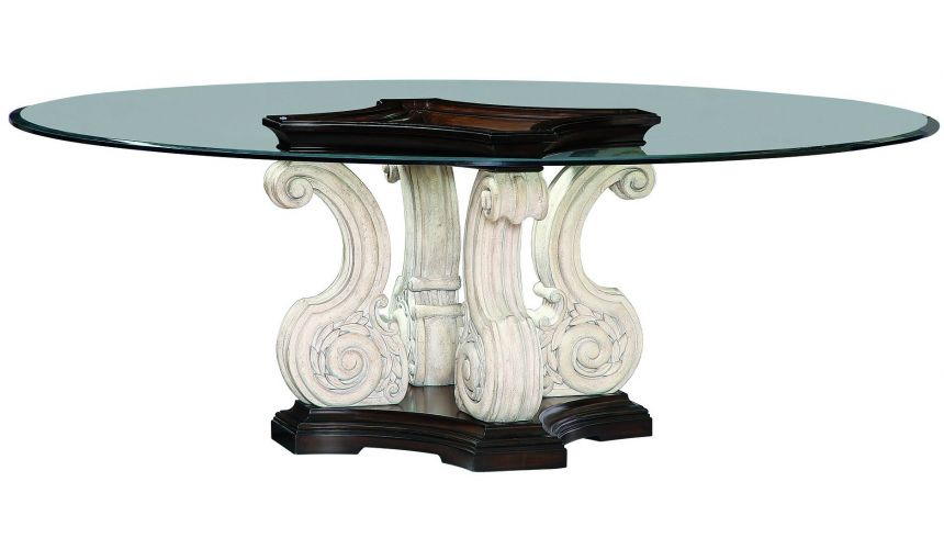 Dining Tables Glass topped dining table with scrolled pedestal base