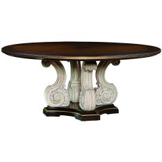 Wooden topped table with a scrolled pedestal base.