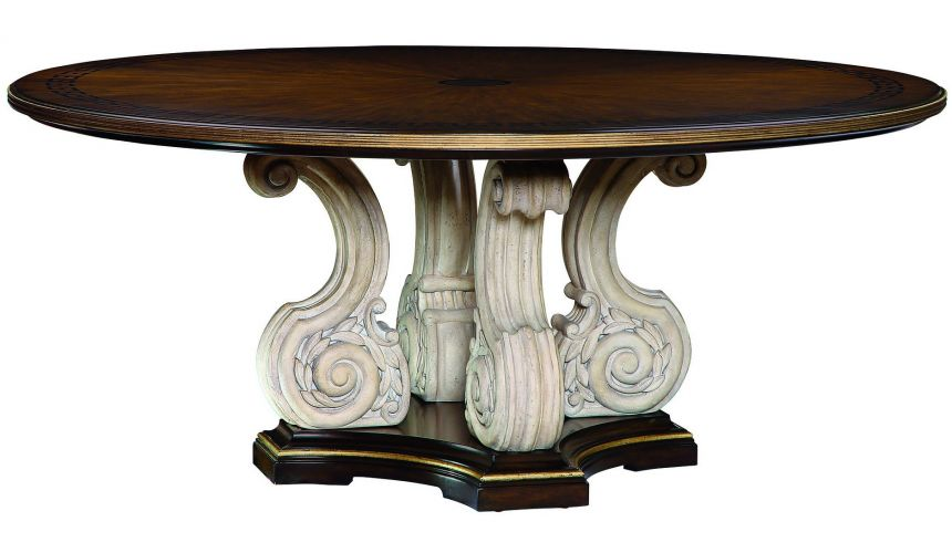 Dining Tables Wooden topped table with a scrolled pedestal base.