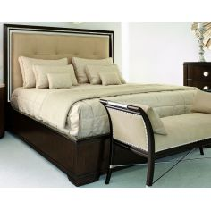 Bed with luxurious tufted leather headboard