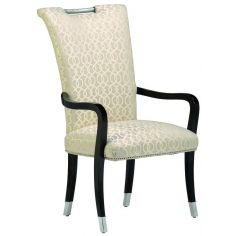 Armed dining chair covered in an ivory print.