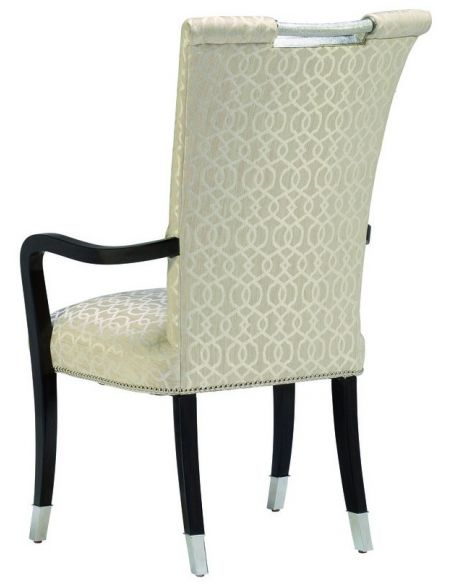 Dining Chairs Armed dining chair covered in an ivory print.