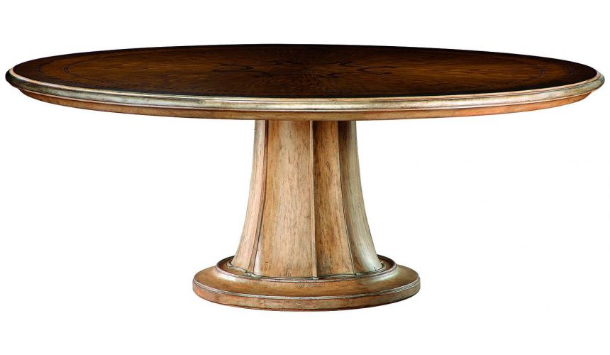 Dining Tables Stunning round dining table with carved pedestal base