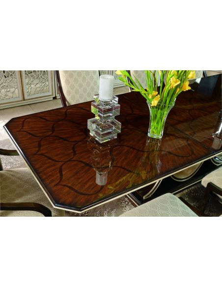Dining Tables Art deco dining table with beautiful wooden inlay work