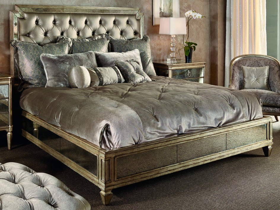 Luxurious Bed With Chic Tufted Headboard