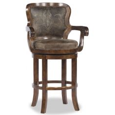 Brown Leather Applique Bar Chair