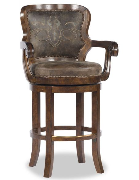 Home Bar Furniture Brown Leather Applique Bar Chair