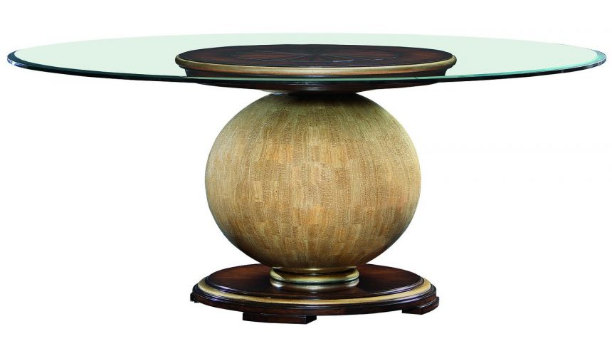 Dining Tables Dining table with round glass top and wooden spherical base