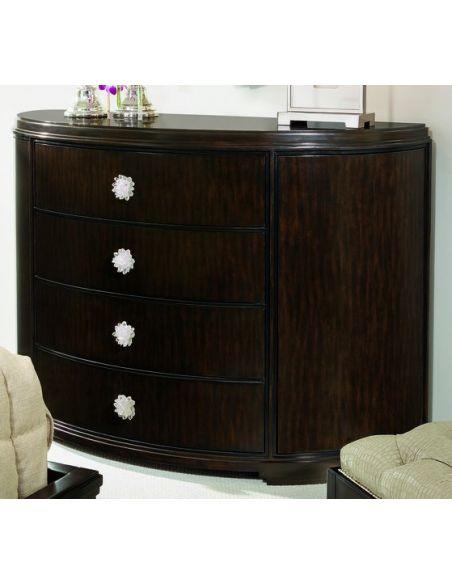 Breakfronts & China Cabinets Elegant dark wood demilune chest