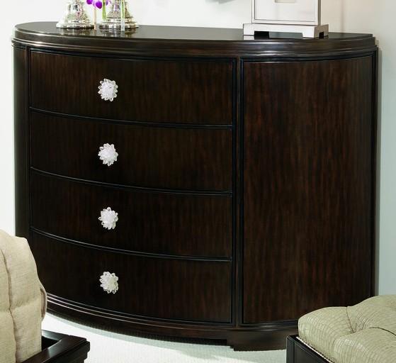Breakfronts U0026 China Cabinets Elegant Dark Wood Demilune Chest