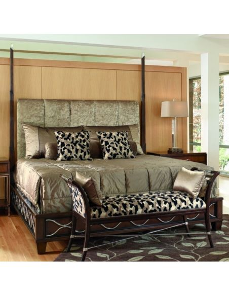 BEDS - Queen, King & California King Sizes Bed with tufted headboard and animal print accent pillows