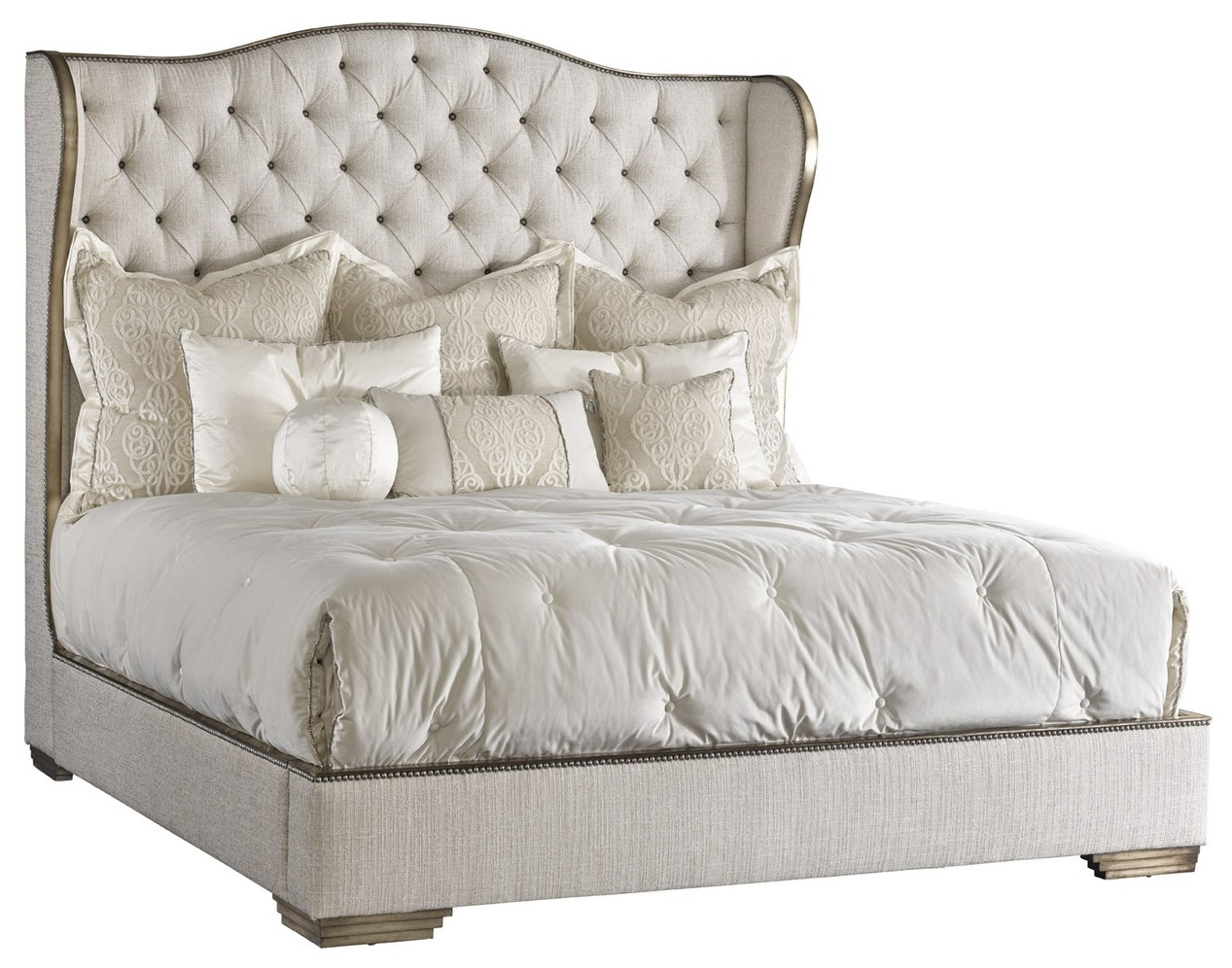 beds  queen king  california king sizes bed with tufted headboard in aelegant. bed with tufted headboard in a elegant platinum linen