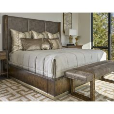 Bed in a luxurious combination of wood and fabric