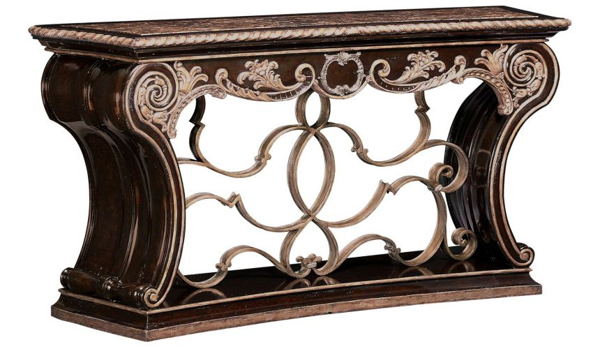 Console & Sofa Tables Wooden console table with intricate scroll work.