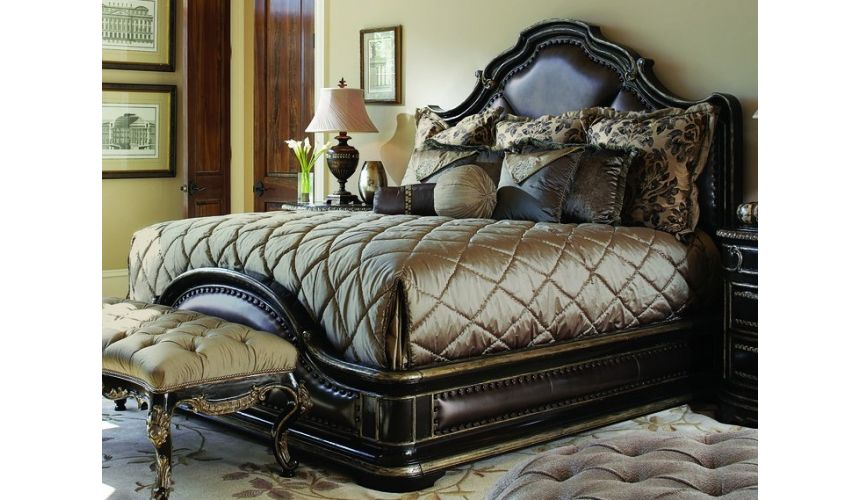 BEDS - Queen, King & California King Sizes Gothic inspired bed with wood and leather accents