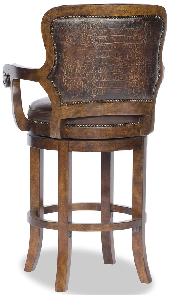 Leather swivel bar chair for High end bar stools swivel