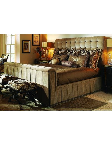 BEDS - Queen, King & California King Sizes Bed with tufted headboard and rolled footboard with intricately pleated fabric