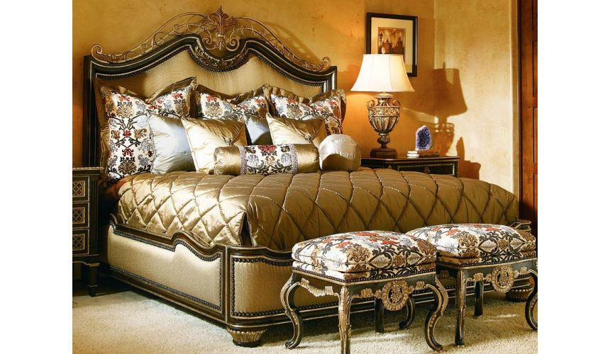 Queen and King Sized Beds French style bed with intricately scrolled headboard