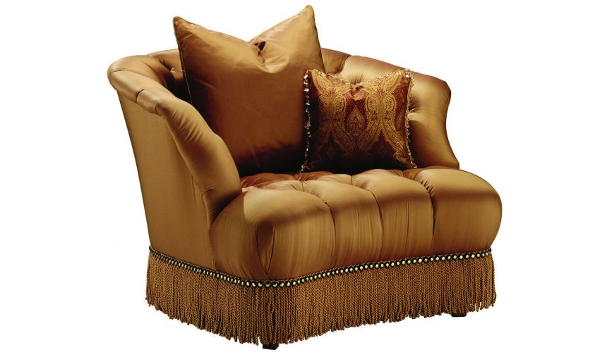 CHAIRS - Leather, Upholstered, Accent Tufted leather armchair