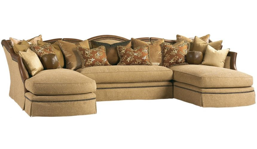 SECTIONALS - Leather & High End Upholstered Furniture Grand sectional sofa with luxurious leather details