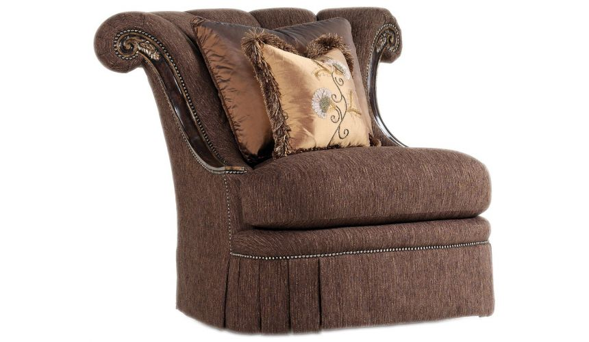 CHAIRS - Leather, Upholstered, Accent Rolled back slipper chair