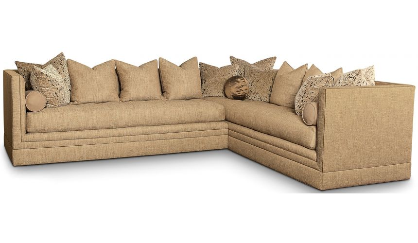 SECTIONALS - Leather & High End Upholstered Furniture Sectional with clean modern lines and chic accent pillows