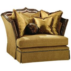 Armchair with regal wooden trim