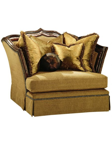 CHAIRS - Leather, Upholstered, Accent Armchair with regal wooden trim