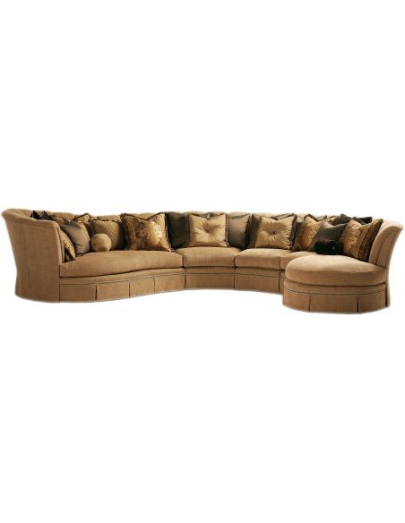 SECTIONALS - Leather & High End Upholstered Furniture Sectional with curved lines and coordinating accent pillows