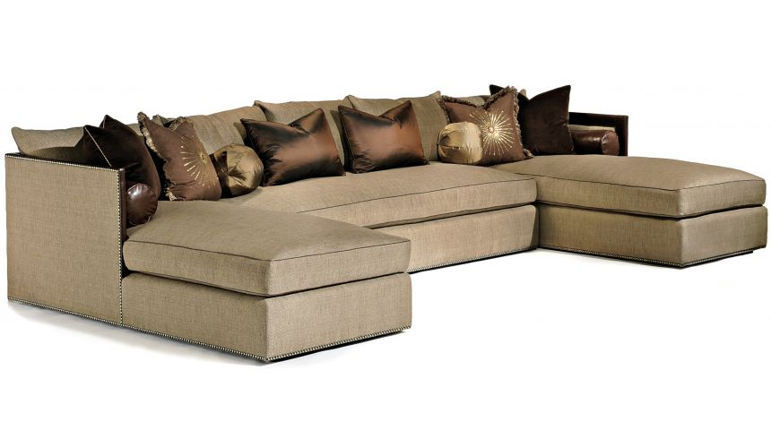 SECTIONALS - Leather & High End Upholstered Furniture Modern sectional with nailhead trim and leather details