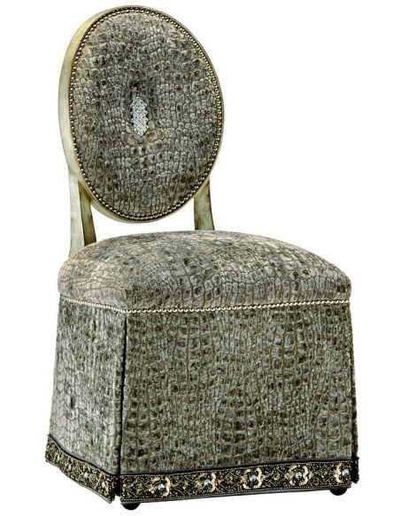 CHAIRS, Leather, Upholstered, Accent Unique slipper chair with beautiful textured fabric