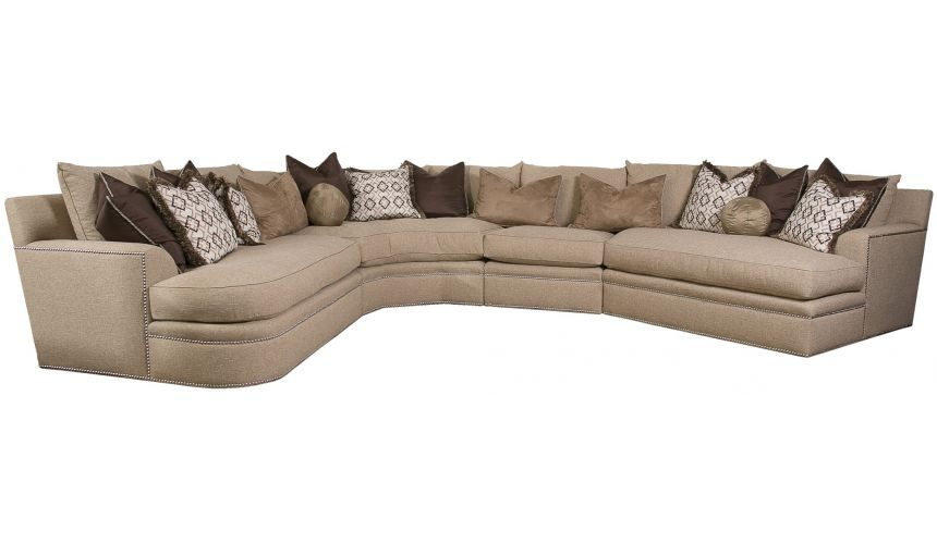 SECTIONALS - Leather & High End Upholstered Furniture Beige sectional with nailhead trim, and coordination accent pillows