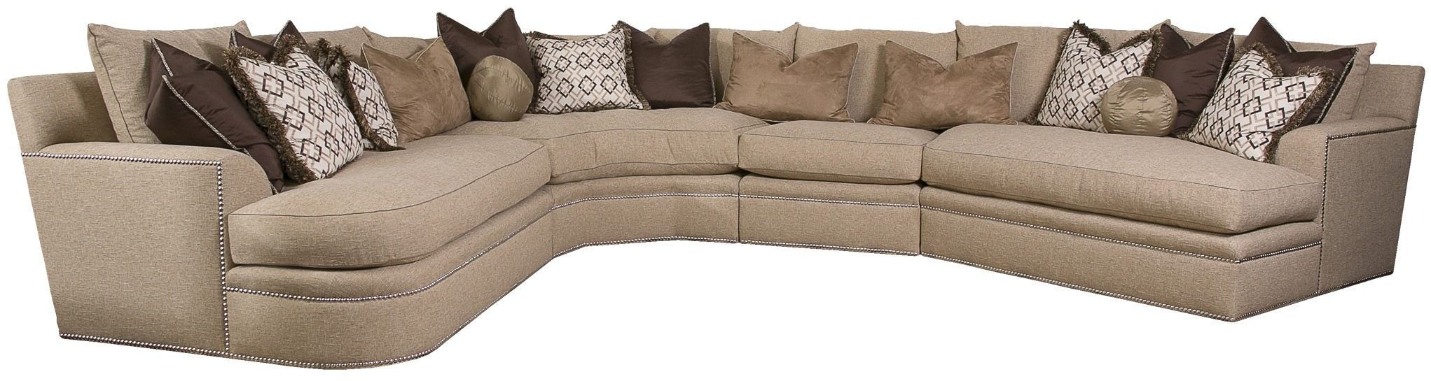 Beige Sectional With Nailhead Trim And Coordination Accent Pillows ~ Nailhead Trim Sectional Sofa