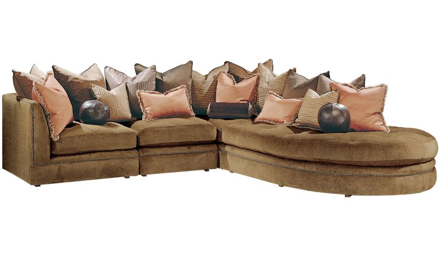 SECTIONALS - Leather & High End Upholstered Furniture Sectional with luxurious soft fabric and nail head trim