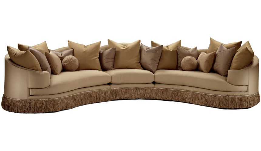 SECTIONALS - Leather & High End Upholstered Furniture Cream colored sofa with luxurious fabric and fringed skirt