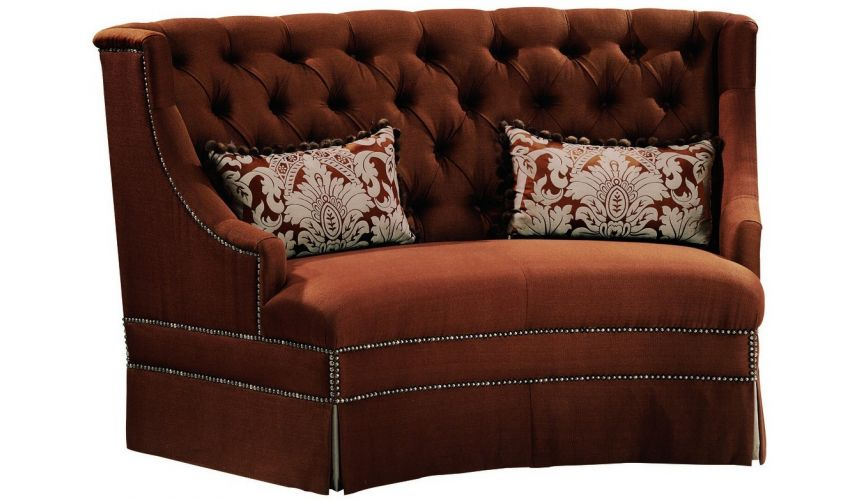 SETTEES, CHAISE, BENCHES Chocolate colored settee withtufted back and nailhead trim