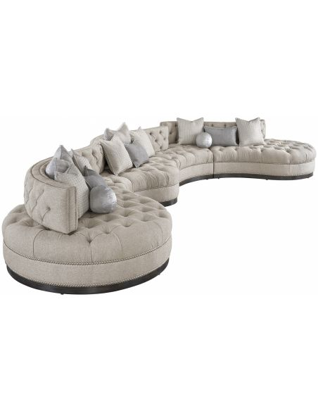 SECTIONALS - Leather & High End Upholstered Furniture Oversized dove grey sectional with curved lines, tufted cushions, and n...