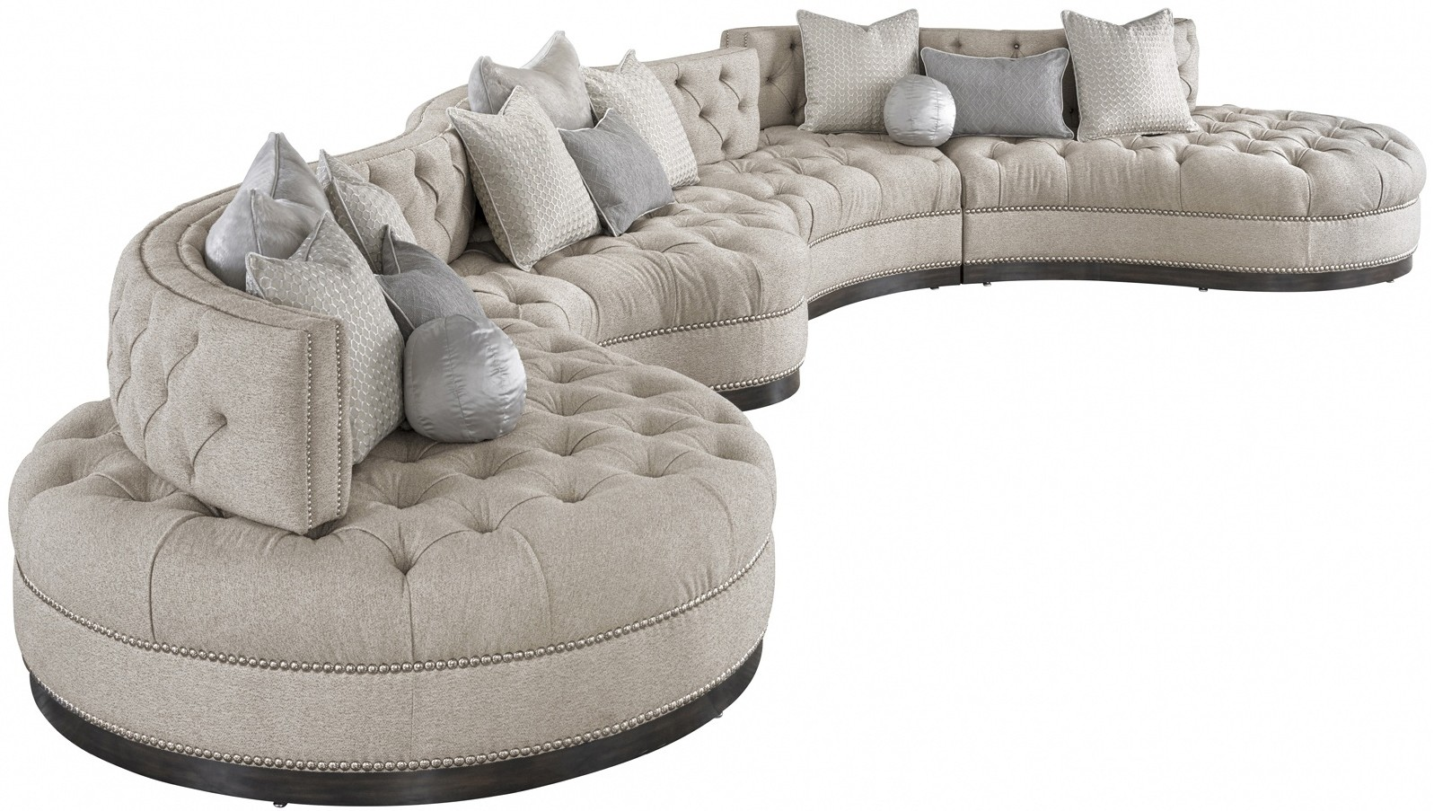 Oversized Dove Grey Sectional With Curved Lines Tufted Cushions A