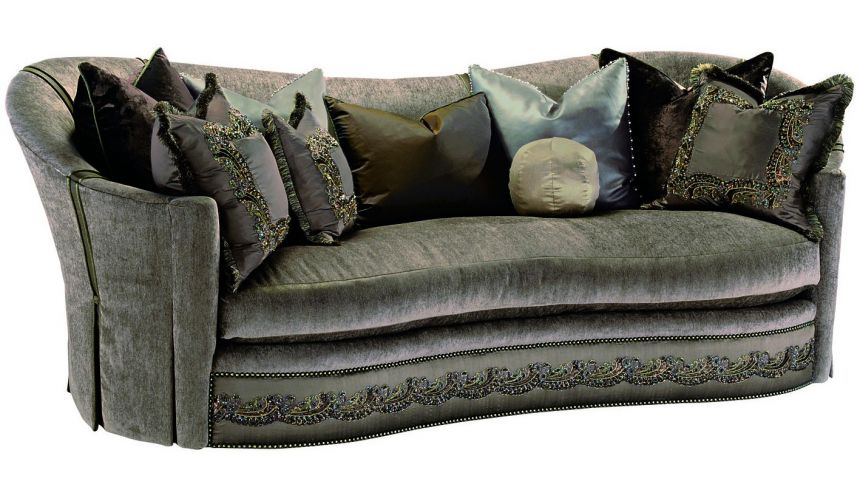 SOFA, COUCH & LOVESEAT Dove grey sofa with elegant curved back and intricate trim