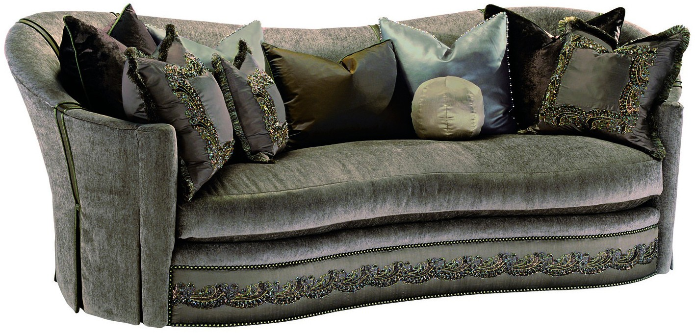 SOFA, COUCH U0026 LOVESEAT Dove Grey Sofa With Elegant Curved Back And  Intricate Trim